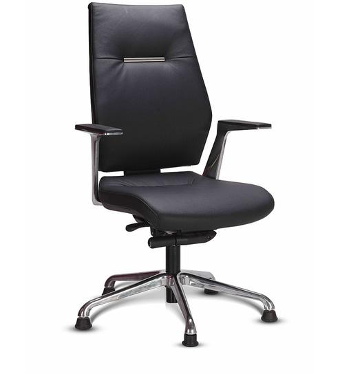 Sedna High Back Chair in Black Leather by Godrej Interio by Godrej