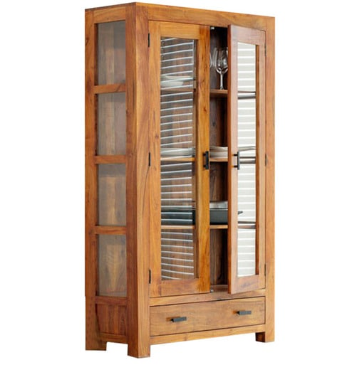 See Through Glass Cabinet With Drawer By Wood Dekor By