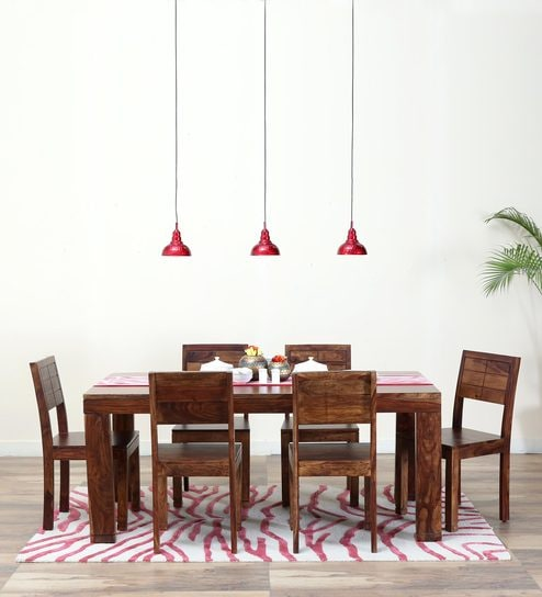 Segur Six Seater Dining Set in Provincial Teak Finish by Woodsworth