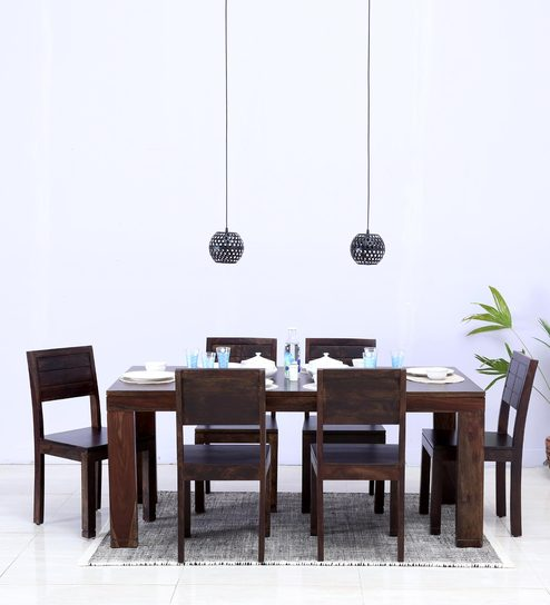 Segur Six Seater Dining Set in Warm Chestnut Finish by Woodsworth