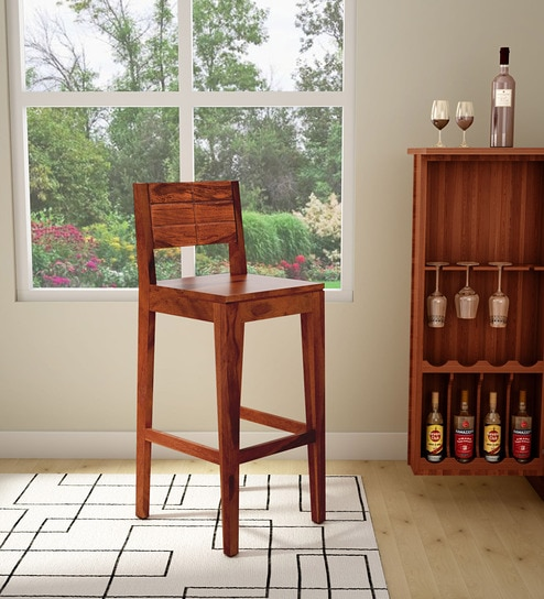 Buy Segur Solid Wood Bar Stool In Honey Oak Finish By Woodsworth