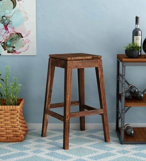 Segur Solid Wood Bar Stool In Provincial Teak Finish By Woodsworth