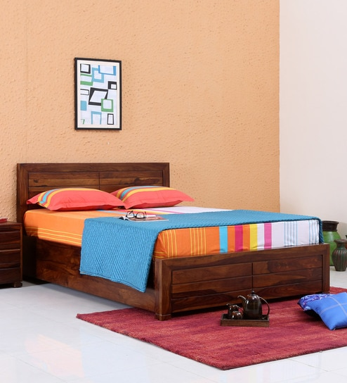 Buy Segur Solid Wood King Size Bed With Box Storage In Provincial