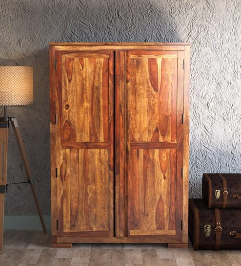 Segur Solid Wood Wardrobe In Provincial Teak Finish By Woodsworth