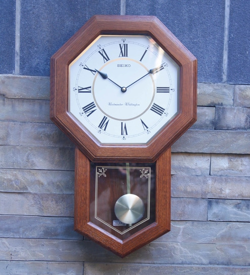 Wood Home Clock 9.8 inch Battery Operated Decorative Wall Clock with Pendulum