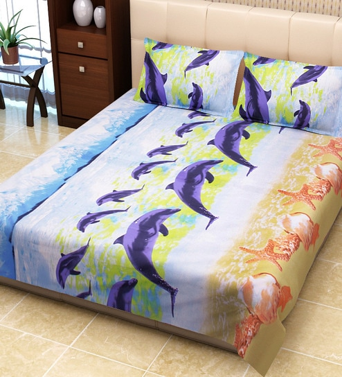 SEJ 3D Animal Blue Abstract Double Bed Sheet With Two Pillow Cover