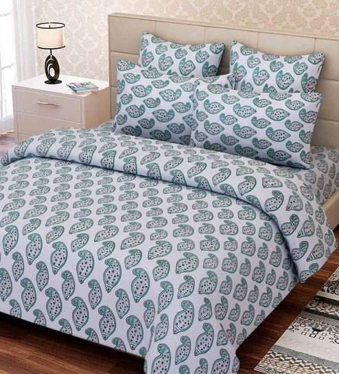 Essentials Ethnic Motif 144TC Cotton Queen Size Bed Sheet With 2 Pillow  Covers By SEJ By