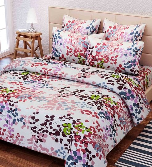 Buy Essentials Floral Pattern 144TC Cotton Double Size Bed Sheet With 2  Pillow Covers By SEJ By Nisha Gupta Online   Floral Double Bed Sheets    Double Bed ...