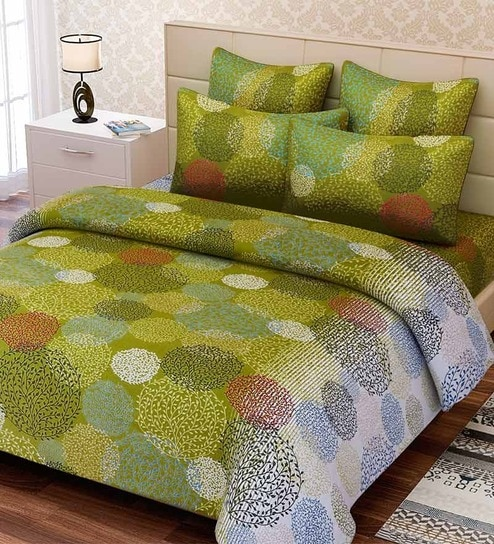 Buy Green Cotton Queen Size Bed Sheet Set of 3 by SEJ By Nisha