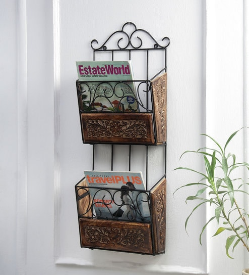 Selah Wall Mounted Magazine Newspaper Holder In Black Finish By Online