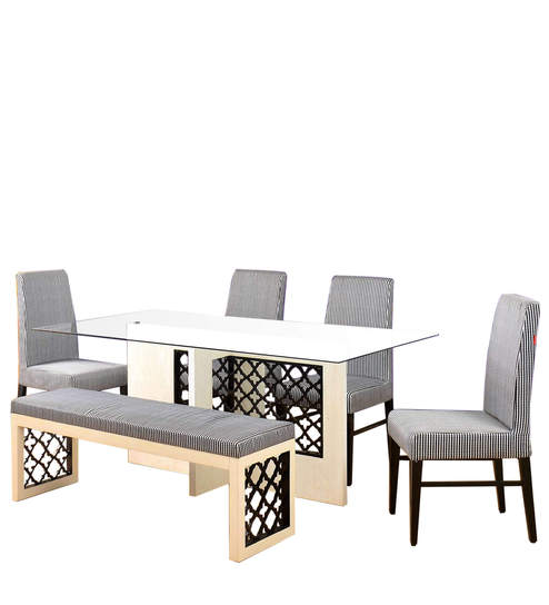 Selene Six Seater Dining Set In Ash White Colour By Home Online Sets Pepperfry