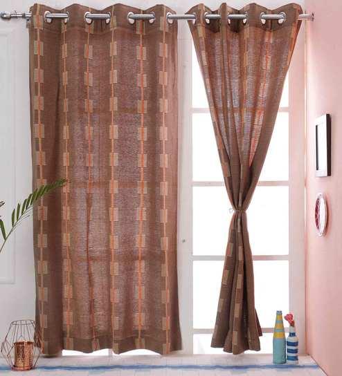 84faf5ec8 Self Design Brown Color 100% Cotton Eyelet Curtain Window Curtain 45.5