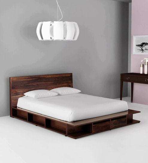 Pleasant Sencillo Solid Wood King Size Bed With Storage In Provincial Teak Finish By Woodsworth Beutiful Home Inspiration Ommitmahrainfo