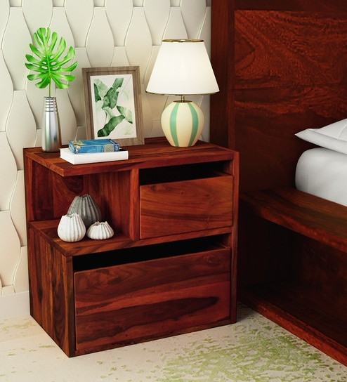 Sencillo Solid Wood LHS Bedside Chest In Honey Oak Finish By Woodsworth