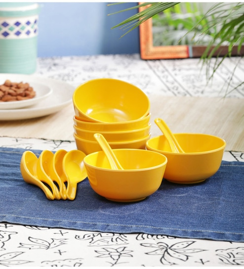 Swell Melamine 200 Ml Yellow Soup Bowl Set Of 6 With Spoons By Servewell Interior Design Ideas Apansoteloinfo