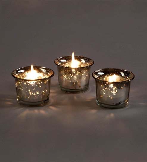 76cd1196f0a0 Buy Silver Glass Tea Light Holder - Set of 3 by Hosley Online ...