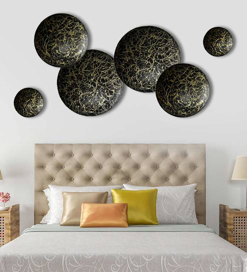 f2eb27f0e0 Buy Set Of 6 Textured Gold On Blackcircles Metal Wall Decor Sculpture By  Craftter Online - Abstract Metal Art - Wall Art - Wall Art - Pepperfry  Product