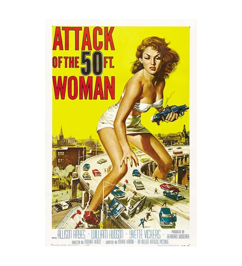 Paper 12 x 1 x 18 Inch Attack Of The 50Ft Woman Unframed Poster by Seven Rays