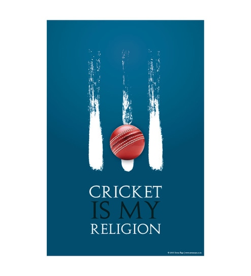 Paper 12 x 1 x 18 Inch Cricket Is My Religion Unframed Poster by Seven Rays
