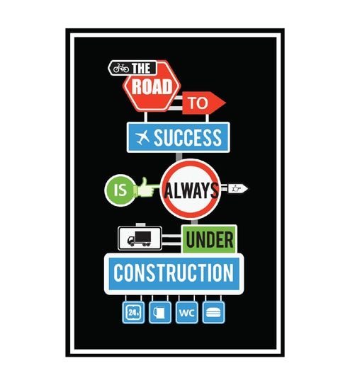 Paper 12 x 1 x 18 Inch The Road To Success Unframed Poster by Seven Rays