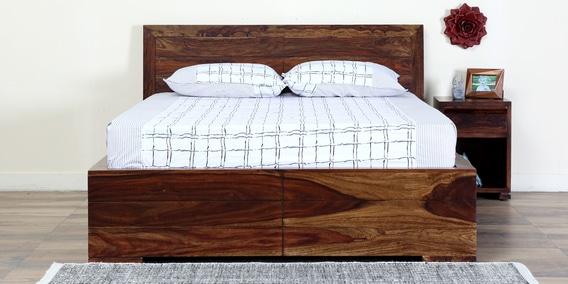Segur Queen Bed With Box Storage In Provincial Teak Finish