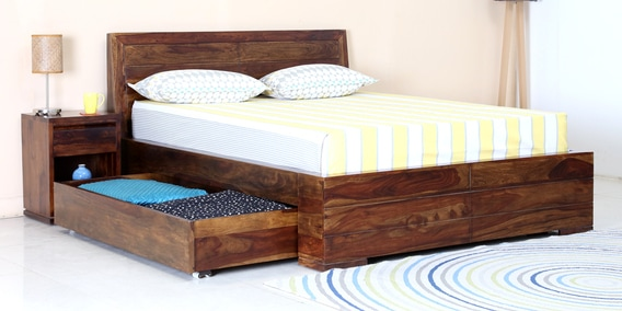 Segur Queen Bed With Drawer Storage In Provincial Teak Finish