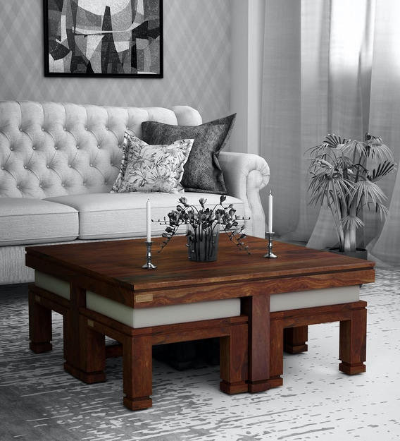 Buy Segur Solid Wood Nesting Coffee Table Set In Provincial Teak Finish Woodsworth By Pepperfry Online Nesting Coffee Tables Sets Tables Furniture Pepperfry Product