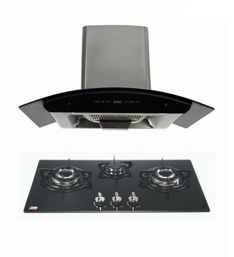 Seavy Prime 90 Cm Auto Clean Hood Chimney & 3 Burners Hob