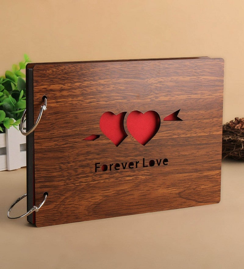 Brown Wood 10 x 4 x 6 Inch Forever Love Pasted Scrap Book Photo Album by Sehaz Artworks
