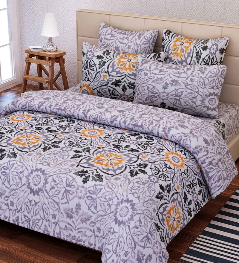 Multicolour Cotton 88 x 100 Inch Ethnic Queen Bed Sheet Set by SEJ By Nisha Gupta