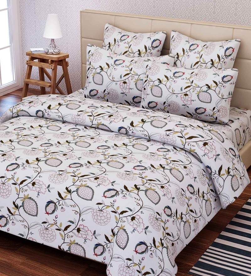 White Cotton 88 x 100 Inch Floral Queen Bed Sheet Set by SEJ By Nisha Gupta