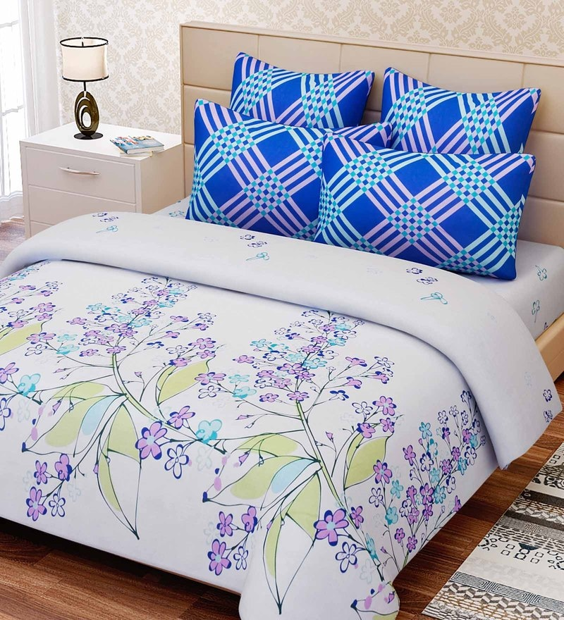 Blue Cotton 88 x 108 Inch Floral King Bed Sheet Set by SEJ By Nisha Gupta