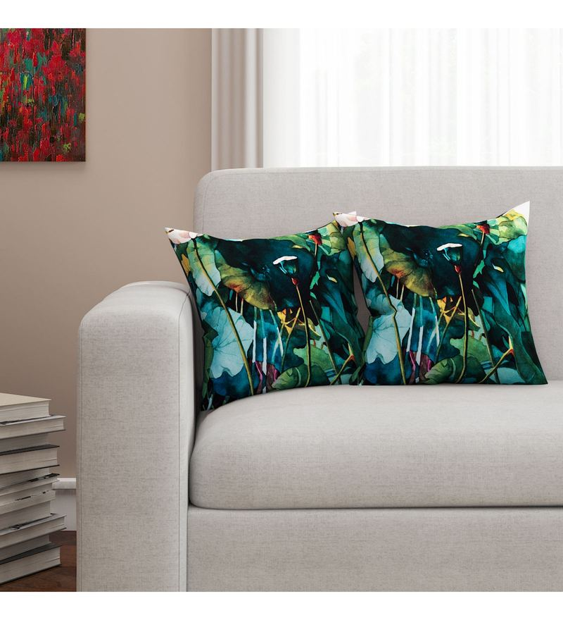 Sej By Nisha Gupta Multicolour Cotton 16 x 16 Inch Floral HD Digital Cushion Cover - Set Of 2