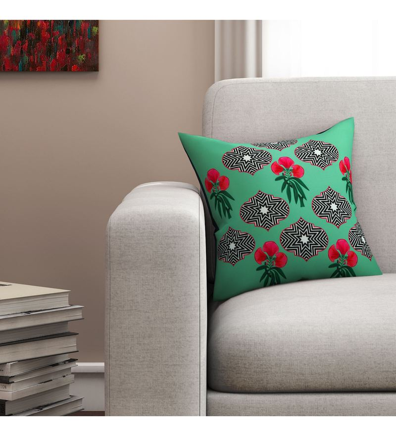 Sej By Nisha Gupta Multicolour Cotton 16 x 16 Inch Floral HD Digital Cushion Cover
