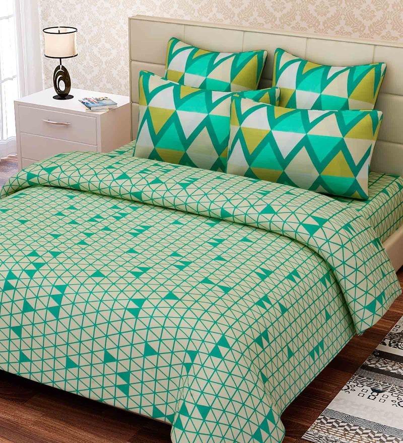 Green Cotton 88 x 108 Inch Geometric King Bed Sheet Set by SEJ By Nisha Gupta