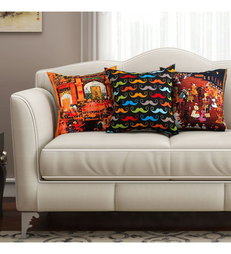 SEJ By Nisha Gupta Multicolour Cotton 16 x 16 Inch Abstract Hd Digital Cushion Cover - Set of 3