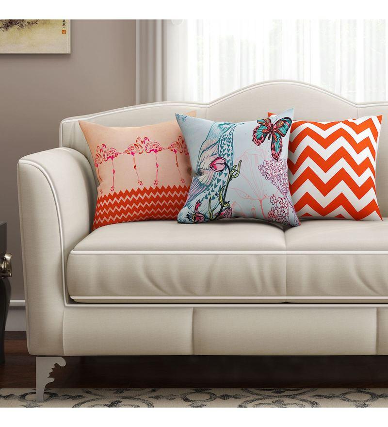 SEJ By Nisha Gupta Multicolour Cotton 16 x 16 Inch Abstract Hd Digital Cushion Cover - Set of 3