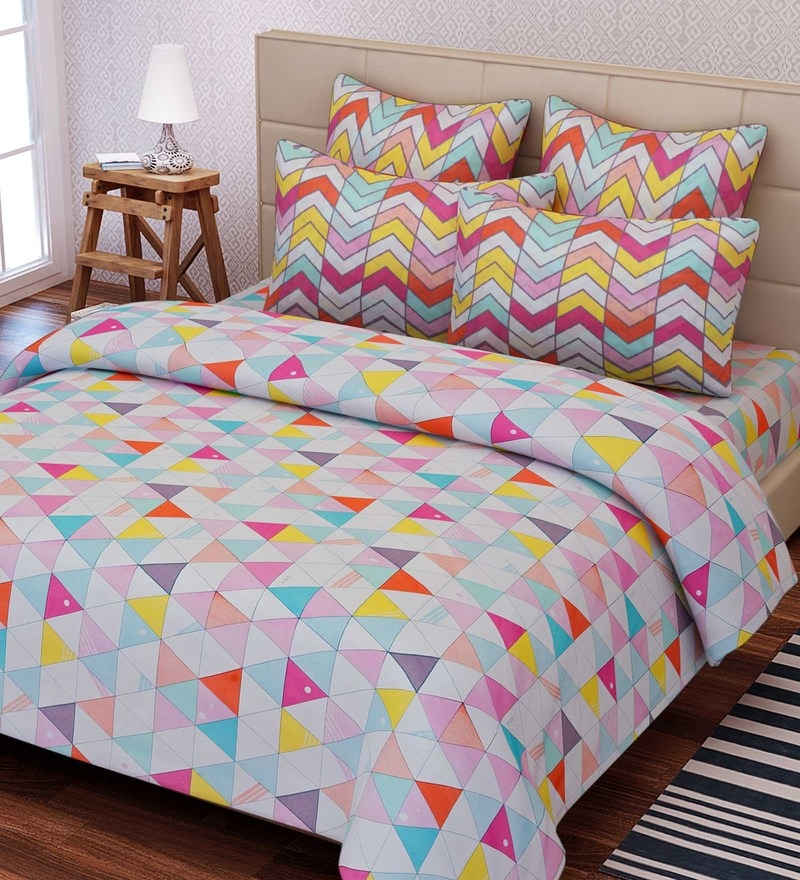 Multicolour Cotton 88 x 108 Inch Geometric King Bed Sheet Set by SEJ By Nisha Gupta