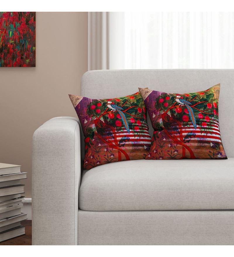 Sej By Nisha Gupta Multicolour Cotton 16 x 16 Inch HD Digital Cushion Cover - Set Of 2