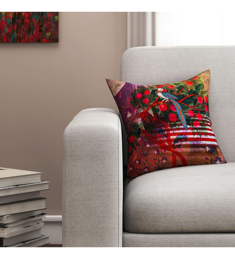 Sej By Nisha Gupta Multicolour Cotton 16 x 16 Inch HD Digital Cushion Cover