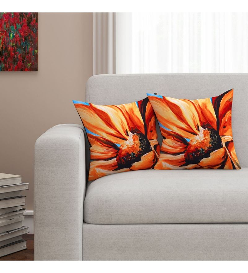 Sej By Nisha Gupta Multicolour Cotton 16 x 16 Inch Floral HD Digital Cushion Cover - Set Of 2