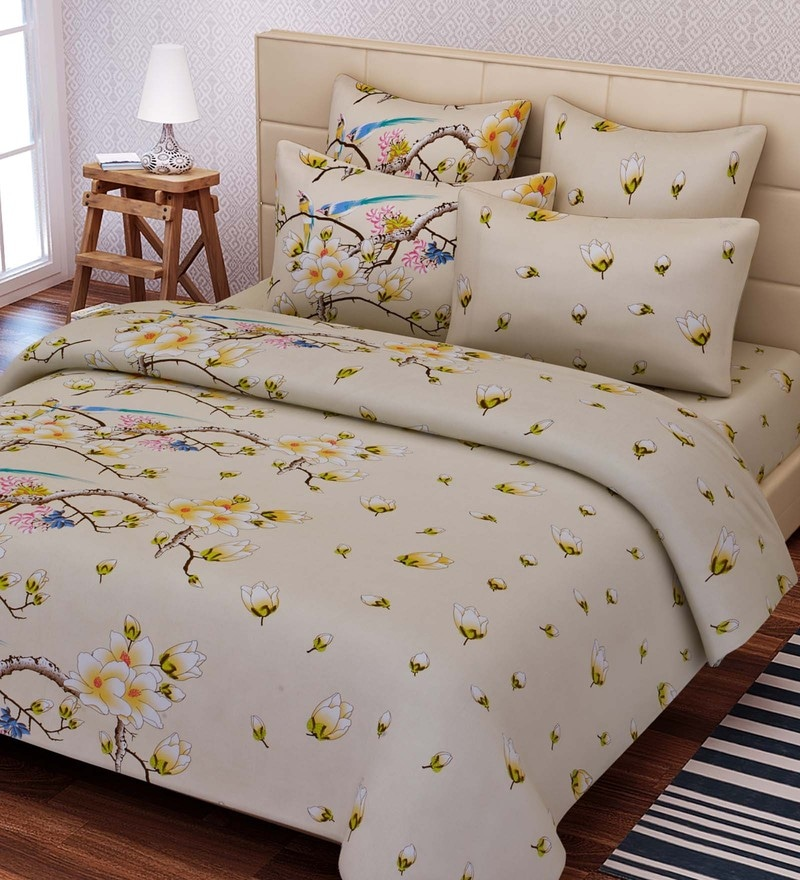 Beige Cotton 88 x 108 Inch Floral King Bed Sheet Set by SEJ By Nisha Gupta