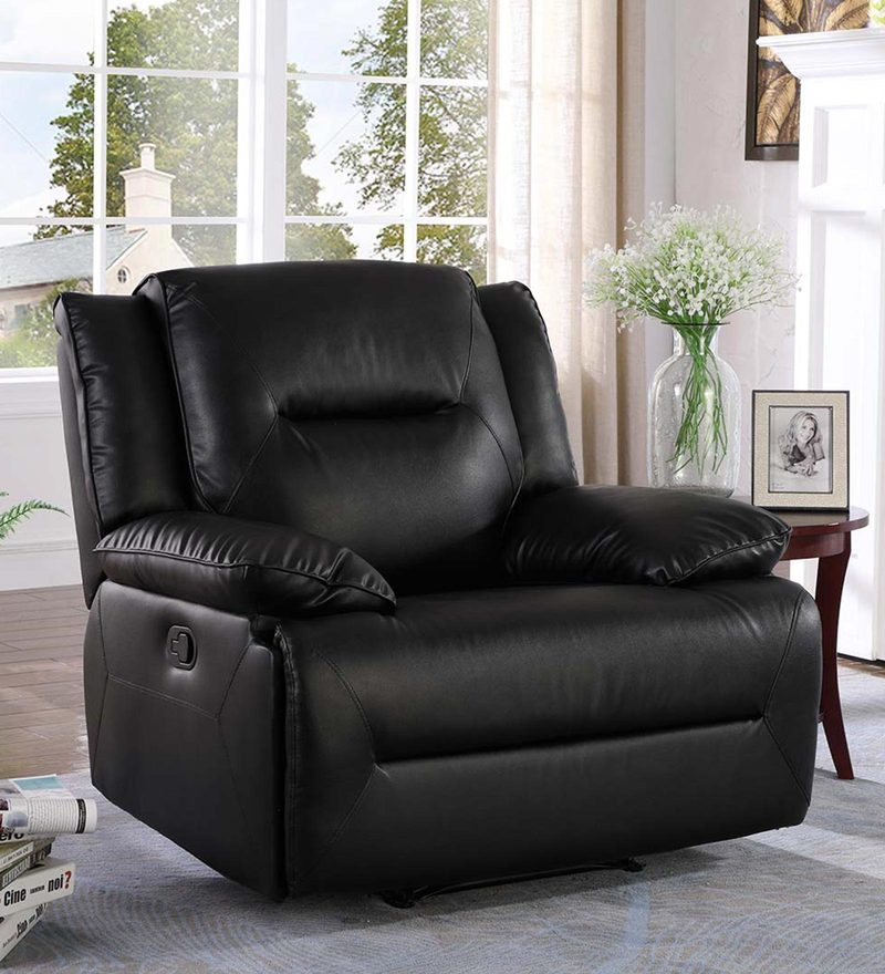 Semana One Seater Manual Recliner in Black Colour by CasaCraft
