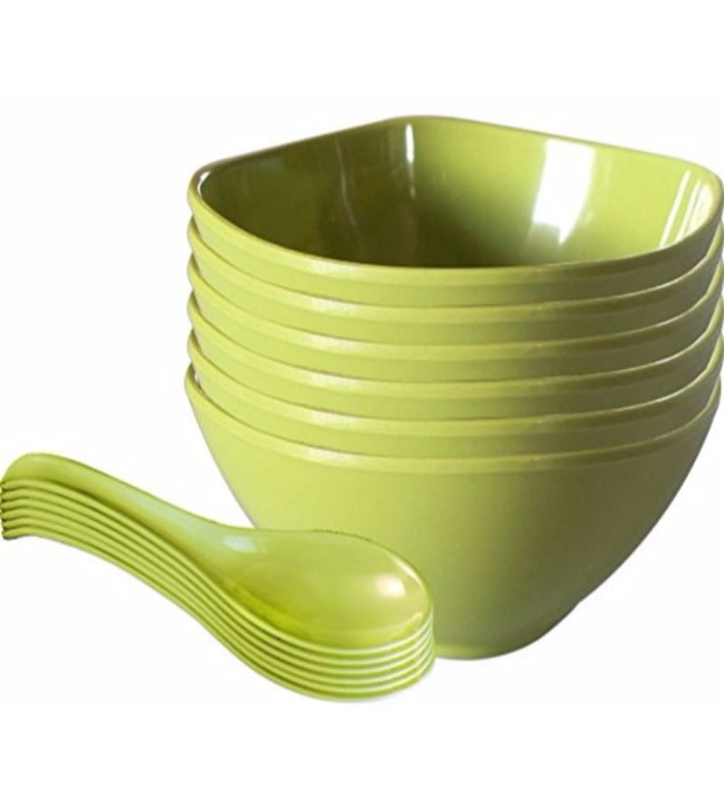 Servewell Round Green Melamine Soup Bowls with Spoons - Set of 12