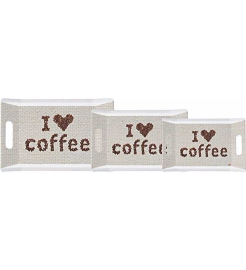 Servewell Trendy I Love Coffee Melamine Serving Trays - Set of 3