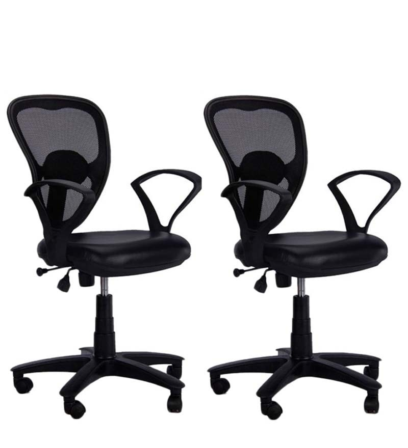 Set of 2 - Ergonomic Low Back Office Chair in Black Colour by Adiko Systems