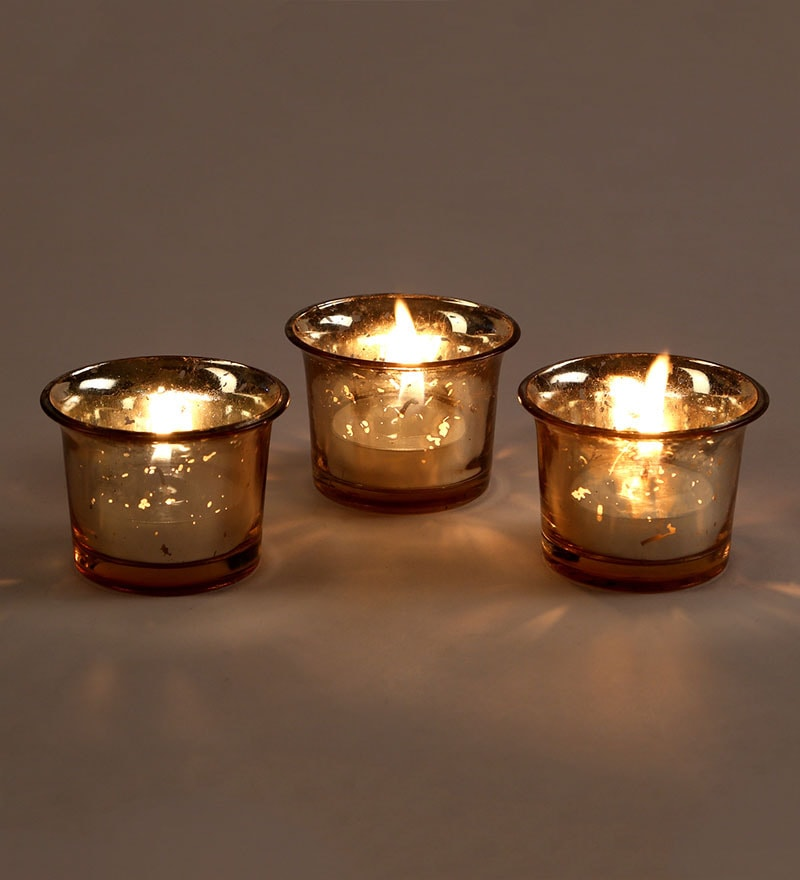 Buy Gold Yellow Glass Tea Light Holder Set Of 3 By