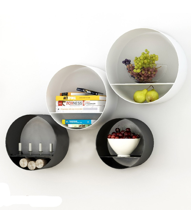 Black & White Mild Steel Round Wall Shelf - Set of 4 by Home Sparkle