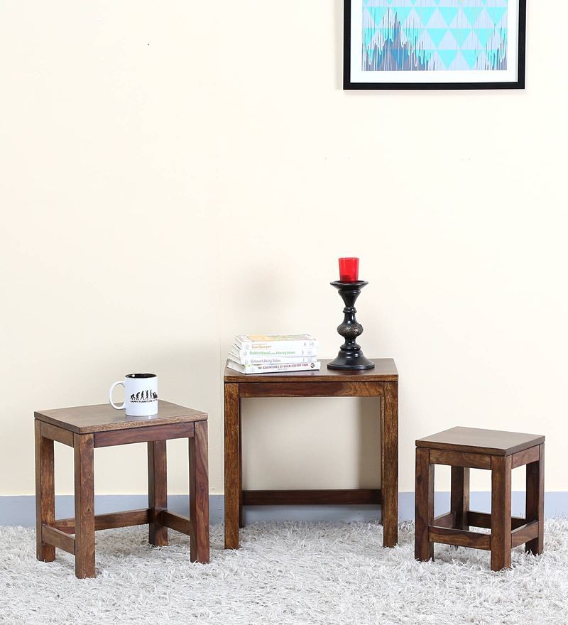 Oriel Set of Tables in Provincial Teak Finish by Woodsworth