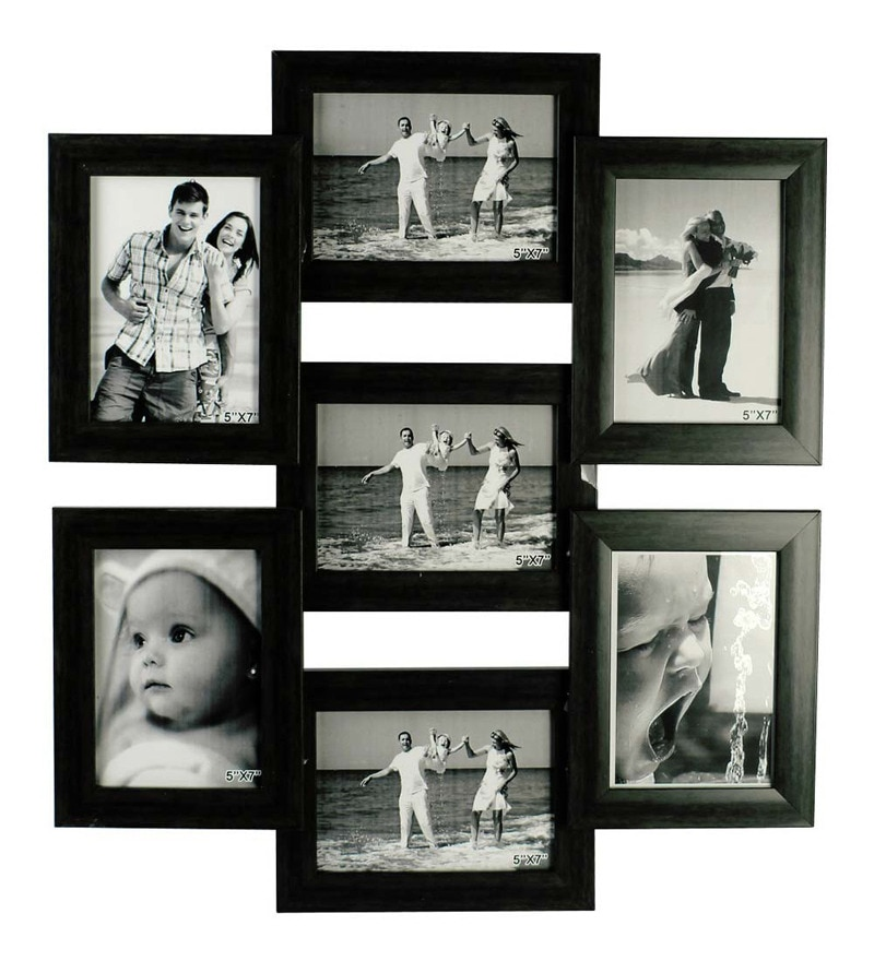 Buy Black Synthetic Wood 5 x 7 Inch Frame Photo Collage by Snap ...